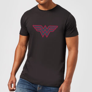 Justice League Wonder Woman Retro Grid Logo Men's T-Shirt - Black