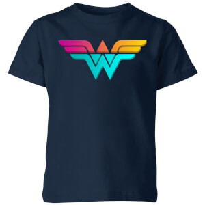 Justice League Neon Wonder Woman Kids' T-Shirt - Navy