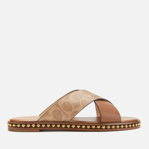 Coach Women's Hailey Beadchain Signature Coated Canvas Slide Sandals - Tan/Saddle