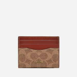 Coach Women's Colorblock Signature Flat Card Case - Tan Rust