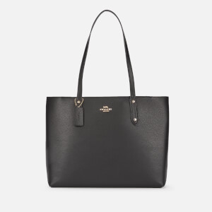 Coach Women's Polished Pebble Leather Central Tote With Zip - Black