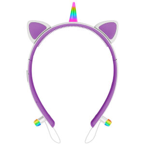 Live Love Music Light Up Unicorn LED Bluetooth Headphones - Purple
