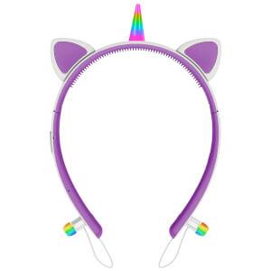 Live Love Music Light Up Unicorn LED Bluetooth Headphones - Purple
