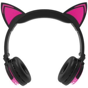 Live Love Music Light Up Cat LED Bluethooth Headphones - Pink