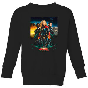 Captain Marvel Movie Starforce Poster Kids' Sweatshirt - Black