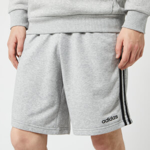 adidas Men's Essential 3 Stripe Fleece Shorts - Grey