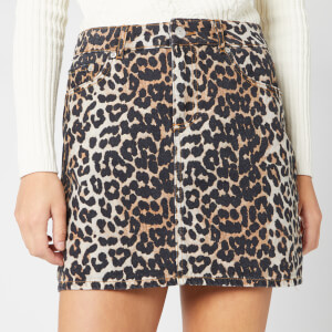 Ganni Women's Print Denim Skirt - Leopard
