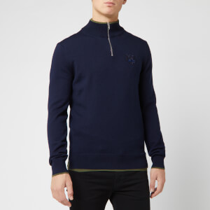 KENZO Men's Tiger Crest Half Zip Knit Jumper - Navy Blue