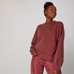 Oversized Crew Neck Sweatshirt - Port