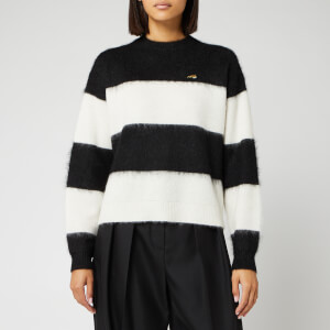 Bella Freud Women's Striped Mohair Cropped Jumper - Oatmeal
