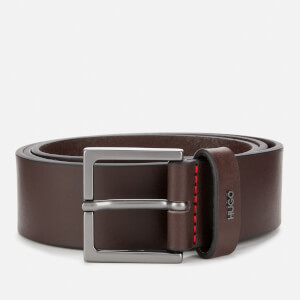 HUGO Men's Giove Logo Tab Leather Belt - Brown