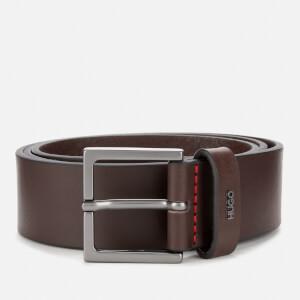 HUGO Men's Giove Logo Tab Leather Belt - Brown