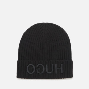 HUGO Men's Reverse Logo Knitted Beanie Hat - Black