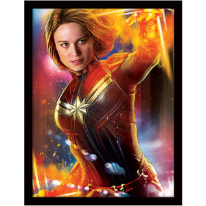 Captain Marvel (Glow) Framed 30 x 40cm Print