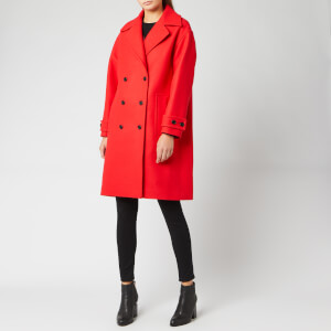 KENZO Women's Wool DB Coat - Bright Red