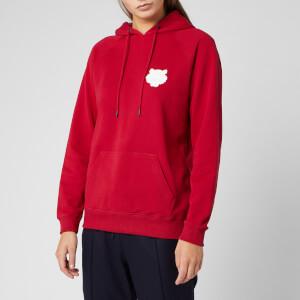 KENZO Women's Tiger Crest Cotton Moleton Hoodie - Cherry