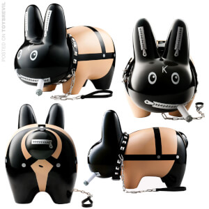 Kidrobot Kozik Smorkin Labbit Black Bondage 10 Inch Vinyl Figure (Limited Edition Of 400)