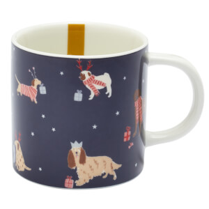 Joules Christmas Dogs Mug - Navy
