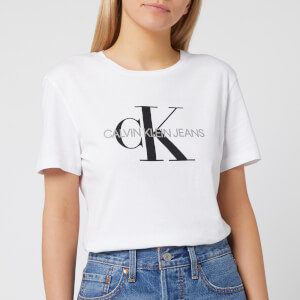 Calvin Klein Jeans Women's Monogram Logo Regular Fit T-Shirt - Bright White