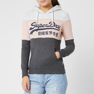 Superdry Women's Vintage Logo High Build Emb Entry Hoodie - Soft Grey Marl/Copper Blush/Charcoal Mar