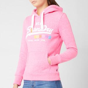 Superdry Women's Vintage Logo Pop Entry Hoodie - Fluro Pink Snowy