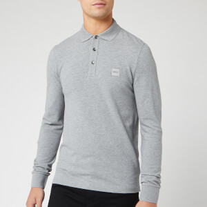 BOSS Men's Passerby Long Sleeve Polo Shirt - Grey