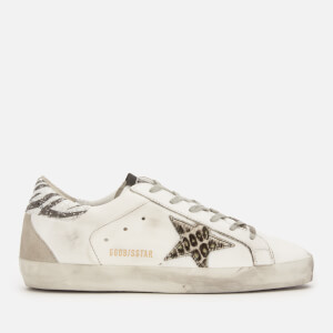Golden Goose Deluxe Brand Women's Superstar Leather Trainers - White Glitter/Animalier Star