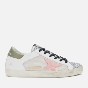 Golden Goose Deluxe Brand Women's Superstar Leather Trainers - White Grey Cord/Silver Glitter