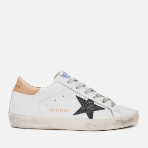 Golden Goose Deluxe Brand Women's Superstar Leather Trainers - White Sand/Black Glitter