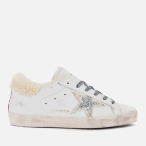 Golden Goose Deluxe Brand Women's Superstar Leather Trainers - White Shearling/Silver Glitter Star