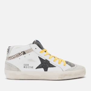 Golden Goose Deluxe Brand Women's Mid Star Leather Trainers - White/Snake Print/Black Glitter Star