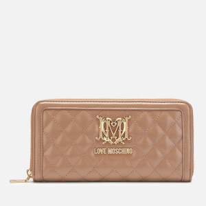 Love Moschino Women's Quilted Zip Around Purse - Camel