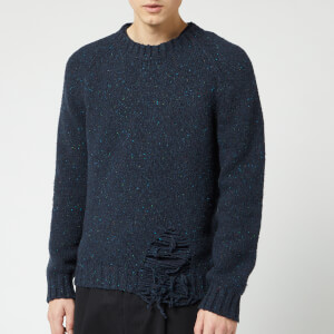 Maison Margiela Men's Distressed Jumper - Navy