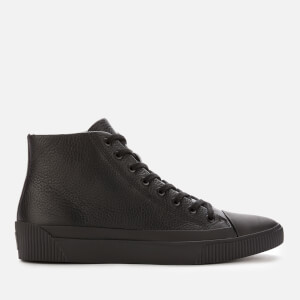 HUGO Men's Zero Grained Leather Hi-Top Trainers - Black