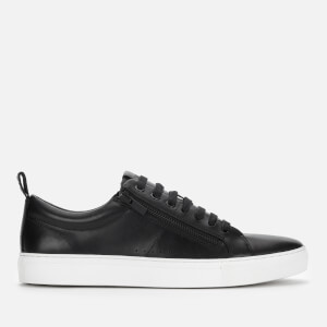 HUGO Men's Futurism Leather Double Zip Low Top Trainers - Black