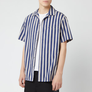 Lanvin Men's Striped Bowling Shirt - Dark Blue/Light Grey