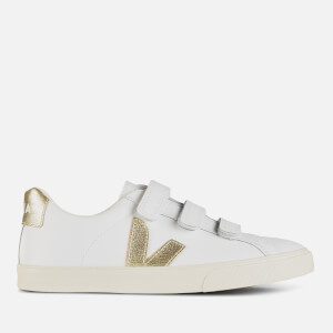 Veja Women's 3-Lock Leather Trainers - Extra White/Gold