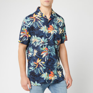 Tommy Hilfiger Men's Hawaiian Print Shirt - Vintage Indigo/Jet Black/Multi