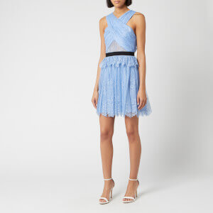 Self-Portrait Women's Cross Front Fine Lace Mini Dress - Blue