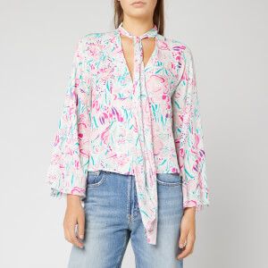 RIXO Women's Kim Top - Floral Story/Peach Teal