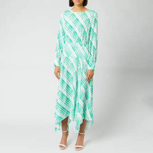 RIXO Women's Elsa Dress - Sponge Check/Teal Blue