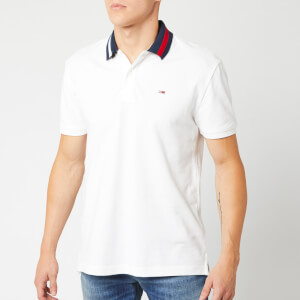 Tommy Jeans Men's Flag Neck Polo Shirt - Classic White