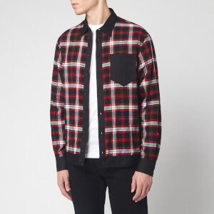 Dsquared2 Men's Cotton and Check Bowling Shirt with Logo Print On Back - Black/Red/White