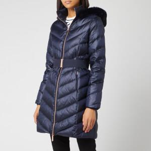 Ted Baker Women's Millsa Chevron Long Puffer Jacket - Dark Blue