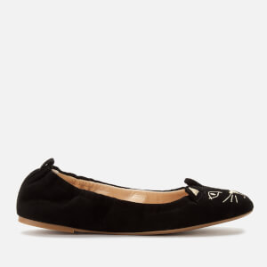 Charlotte Olympia Women's Kitty Suede Ballerina Flats - Black