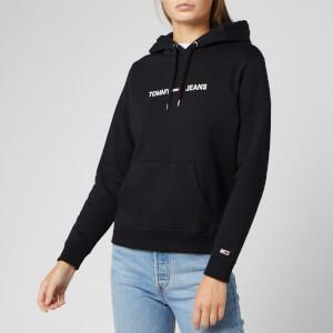 Tommy Jeans Women's Clean Linear Logo Hoodie - Tommy Black