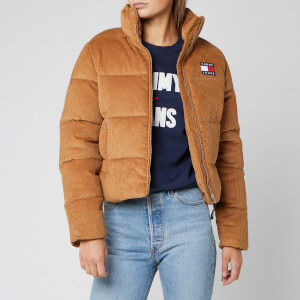 Tommy Jeans Women's Cord Puffa Jacket - Tobacco Brown