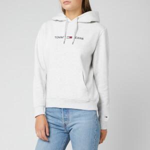 Tommy Jeans Women's Clean Linear Logo Hoodie - Pale Grey Heather