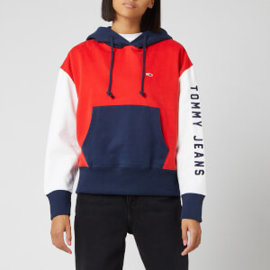 Tommy Jeans Women's Contrast Sleeve Logo Hoodie - Flame Scarlet/Classic White