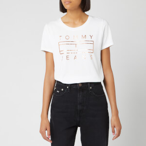Tommy Jeans Women's Metallic Logo T-Shirt - Classic White